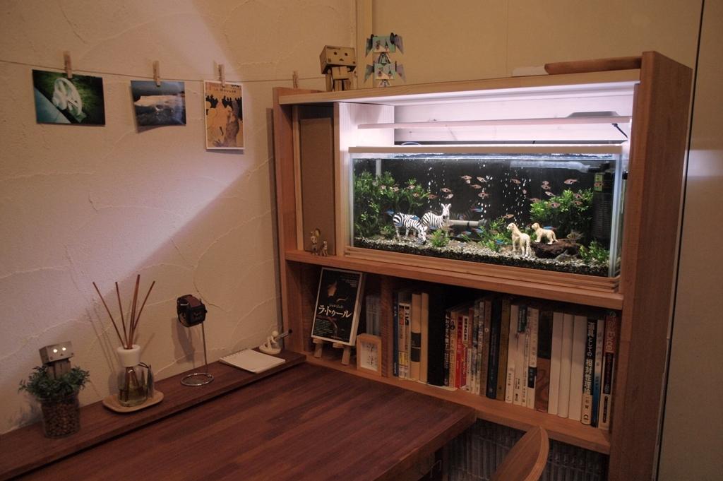 本棚と水槽